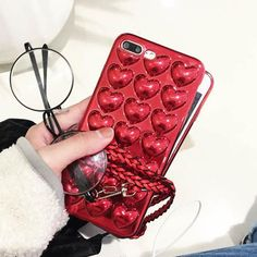 Fashion Plating Love Heart Phone Cases For iphone 7 Plus 6 6s Plus Cover Luxury DIY 3D Soft TPU Silicone Lovers Case Fundas Capa