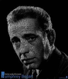 Find ten words belonging to the titles of Humphrey Bogart movies. Playing with Bogart Humphrey Bogart, Bogart Movies, Typography Portrait, Web Design, Photoshop, Spanish Artists, Human Mind, Arte Pop, Lee Jeffries