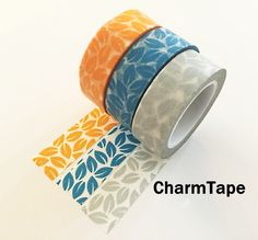 Leaf Washi Tape 15mm x 10 meters Grey, yellow, blue WT1012
