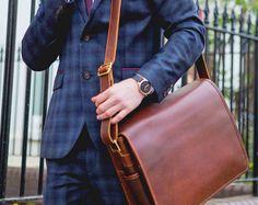 Handmade 14 Leather Messenger Bag  Thick Veg-Tan