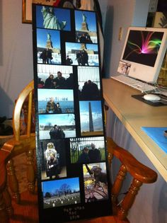 Got this idea from Pinterest. They had used Mod Podge to attach pictures to black foam board. I am making these strips with pictures from family vacations and hanging them in the basement. Better than buying frames and can display several pictures. :)