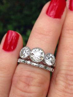Three stone engagement rings - A modern day makeover antique cushion ring by CvB) – Three stone engagement rings Three Stone Engagement Rings, Three Stone Rings, Modern Jewelry, Custom Jewelry, Diamond Rings, Diamond Jewelry, Diamond Stone, Gold Jewellery, Sapphire Rings