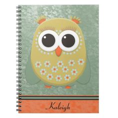 Personalized Orange and Yellow Owl on Green Grunge Spiral Note Book