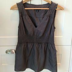 Dark taupe 100%silk v-neck top w/gathered waist Dark taupe 100%silk v-neck top w/gathered waist. Barely worn. Good condition. Banana Republic Tops