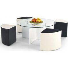 Meeting soffbord inklusive sittpuffar - Vit/Svart