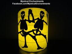 Dancing Skeletons & Spiderweb Halloween by MYSTICALLYENCHANTING, $13.95