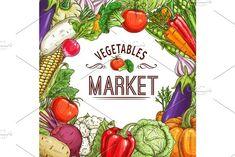 Vegetable market poster with frame - Illustrations