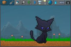 Who is this mysterious black cat ? #pixelart #cat