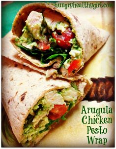 Arugula Chicken Pesto Wrap. The absolute best wrap ever! So flavorful and a family favorite.