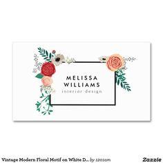 Motivo floral moderno do vintage no desenhista cartão de visita