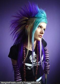 Blue n teal cyber punk goth Cybergoth, Asian Fashion, Gothic Fashion, Steampunk Fashion, Emo Fashion, Fashion Women, Alternative Fashion, Alternative Style, Alternative Girls