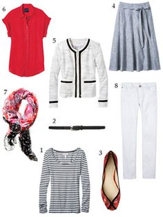 20 Summer Pieces - 51 Work & Play Outfits.  The Pieces - Part 3:  13. Striped tee  14. Black belt  15. Funky peep-toe flats  16. A-line skirt  17. Chanel style jacket   18. Silky top   19. Colorful scarf  20. White jeans