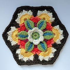 knit & crochet design: Frida's Flowers - Block Seven