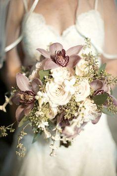Elegant Wedding Bouquet Showcasing: Lavender Cymbidium Orchids, White Stephanotis, White Roses, Green Seeded Eucalyptus