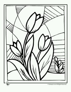 flower coloring pages spring flowers tulip flower coloring page fantasy jr pattern idea for mosaic