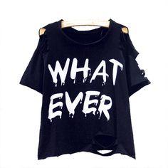 Women femme Summer Punk Rock O Neck Short Sleeve harajuku kawaii bts Design Cool Hollow Ripped T-Shirts Cropped Blusas Top