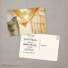 Vintage Save the Date Postcard  the Tyah door NostalgicImprints, $38.00