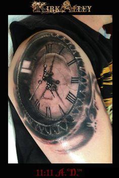 Clock tattoo By Realistic Tattoo & Ink Addicted Time Clock Tattoo, Time Piece Tattoo, Wicked Tattoos, Badass Tattoos, Cool Tattoos, Baby Tattoos, Time Tattoos, Sleeve Tattoos, Unique Tattoos