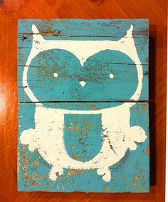 Hand Painted Owl Illustration On Reclaimed Wood