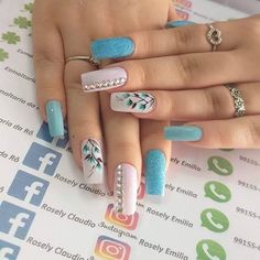 3d Nail Designs, Flower Nail Designs, Creative Nail Designs, Creative Nails, Acrylic Nail Designs, Acrylic Nails, Funky Nails, Trendy Nails, Cute Nails