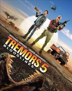 Tremors 5: Bloodlines Poster with Burt Gummer, Baby Gummer and a grabber.
