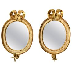Pair of Swedish Gustavian Giltwood Oval Mirror Girandoles, 18th Century | From a unique collection of antique and modern girandoles at https://www.1stdibs.com/furniture/mirrors/girandoles/
