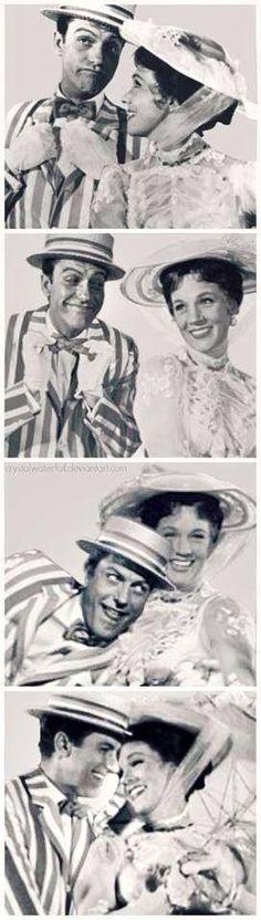 Dick Van Dyke and Julie Andrews goofing around on set.