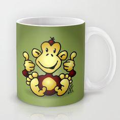 Manic Monkey with 4 thumbs up Mug #Cardvibes #Tekenaartje #Society6