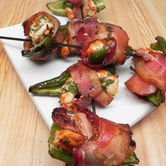 "Steve's Spicy Shrimp Kabobs | ""Jalapenos stuffed with marinated shrimp are wrapped in bacon and grilled. Yum!"" #shrimprecipes #shrimp #seafoodrecipes #recipes #kabobrecipes #kabobs #seafoodkabobs #shrimpkabobs #grillingrecipes"