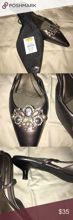 Talbots's shoes Pewter with stones and rhinestone on toes. New with tags. Beautiful style. Talbots Shoes Heels