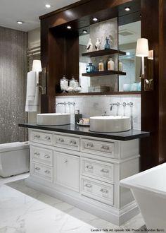 A beautiful vanity featuring Atlas' Crystal pulls.