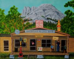 COUNTRY STORE on CANVAS Reproduction 12 X 16 Vintage Gas Station Nostalgia Old Fashioned Saloon Old Signs Scenic Mountainview Tavern by ABrushOfLife on Etsy