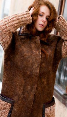 """Купить Пальто из шерсти """"Рыжик"""". - рыжий, валяное пальто, пальто, пальто из шерсти, шерстяное пальто"""