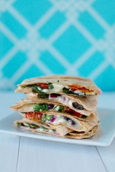 Greek Quesadillas. We love our quesadillas. and i love patty, who is greek. So there you go.