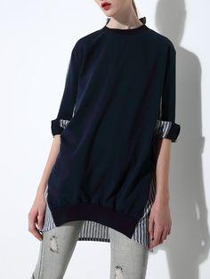 #AdoreWe #StyleWe Tops - iioikoo Navy Blue Cotton-blend Long Sleeve Stripes Tunic - AdoreWe.net