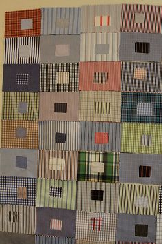 Mamaka Mills Recycled and Custom Memory Quilts: Recycled Shirting Fabric Custom Quilt for a Family Boy Quilts, Scrappy Quilts, Shirt Quilts, Quilting Projects, Quilting Designs, Diy Quilting, Patch Quilt, Quilt Blocks, Plaid Quilt