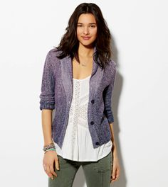 Purple Shawl Collar Cardigan from American Eagle