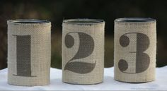 Tin Can Table Number. Rustic Wedding. Country Style Wedding. Set of 3 Tin Can Burlap.. $15.00, via Etsy.