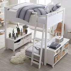 Hampton Convertible Loft Set With Cushy Loveseat Hampton Convertible Loft Bed Bunk Bed Designs, Small Bedroom Designs, Teen Bunk Beds, Lofted Beds, Loft Beds For Teens, Loft Beds For Small Rooms, Teen Bedding, Bedding Sets, White Bedding