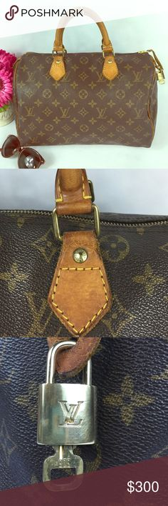 """AUTHENTIC Vintage Louis Vuitton Speedy 30 Beautifully & lovingly maintained authentic Louis Vuitton Speedy Handbag. It is in very good condition, leather has beautiful patina (that naturally comes with age/wear). Leather was regularly, professionally conditioned & hardware polished to keep most original condition. Comes w/ lock, key, & dust bag. Int. in very good condition no holes, tears, or deterioration. Fabulous vintage bag! Please see Xtra pics for condition.  Measures 10"""" D x 12"""" L x…"""