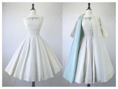 Vintage Cocktail Party Matching Evening Coat Set Ivory White Peau de Soie Full Skirt Ice Blue Silk Lining