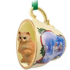 Persian Red Cat Tea Cup Sleigh
