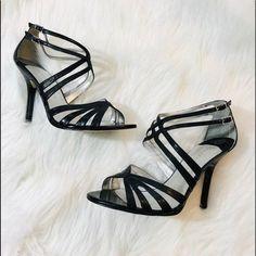 13f6e84a893 Ivanka Trump Women s Black Leather Strappy Heels Size 9 Wide