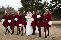 winter wedding bridesmaids in coats.