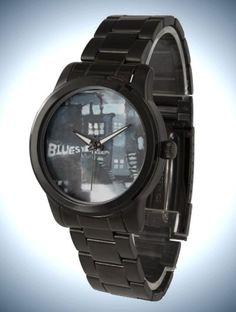 Unisex Oversized Black Bracelet Watch with Fine Art Face 'Blues'