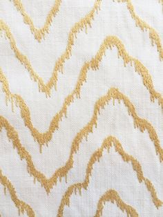Fabricut Marthas Moire Amber Gold White Embroidered Crewel Upholstery Fabric Remnants by ShopPetunias on Etsy