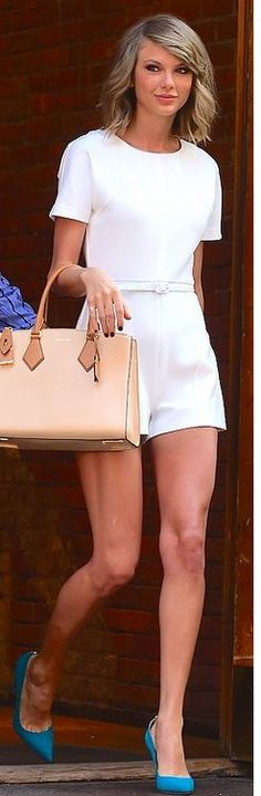 White shirt sleeve romper (Rachel Zoe), blue suede pumps (Manolo), nude handbag (Michael Kors)