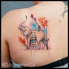 """""""Based off an awesome Norman Duenas painting that was brought to me. I hope I did an okay job capturing it. #watercolor #watercolortattoo #watercolour…"""""""