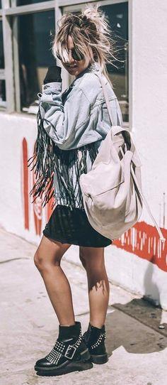 fashionable outfit bag + denim jacket + black skirt + boots
