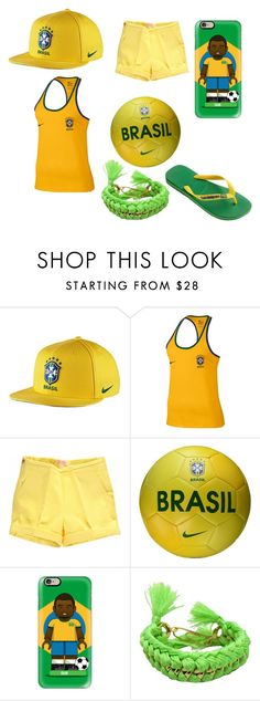 """brasil"" by ropars-pierre ❤ liked on Polyvore featuring NIKE, Casetify, Aurélie Bidermann and Havaianas"
